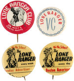 LONE RANGER 1930s-EARLY 1940s GROUP OF FOUR SCARCE BUTTONS.