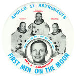 """APOLLO 11 ASTRONAUTS FIRST MEN ON THE MOON"" BUTTON WITH DESIGNER'S NAME."