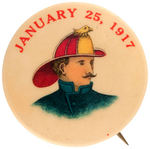 FIREMAN IN EAGLE ACCENTED LEATHER HELMET CHOICE COLOR DATED 1917 BUTTON.