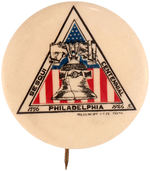 CPB SESQUICENTENNIAL #284 BUTTON FEATURING LIBERTY BELL.