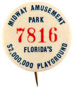 FLORIDA EARLY AMUSEMENT PARK BUTTON C.1924.