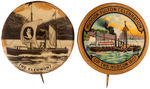 CPB HUDSON FULTON CELEBRATION #261 AND 267 BUTTONS FEATURING THE CLERMONT STEAMSHIP.