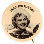 """SONJA HENIE SKATE FOR PLEASURE"" MOVIE PROMO BUTTON."